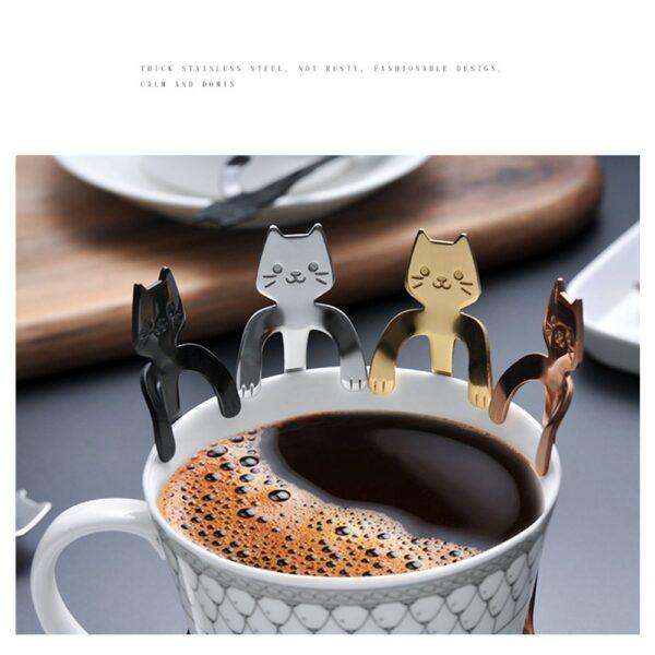 shine, cuillère féline à café en acier inoxydable couleur, petite cuillère chat pour le thé ou les desserts