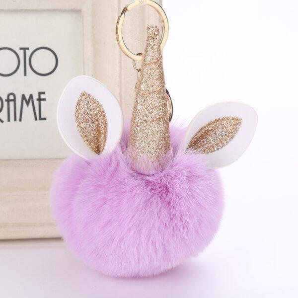 shine, porte clés licorne, porte-clé pompon violet, accessoire mode, accessoire tendance, porte clé tout doux