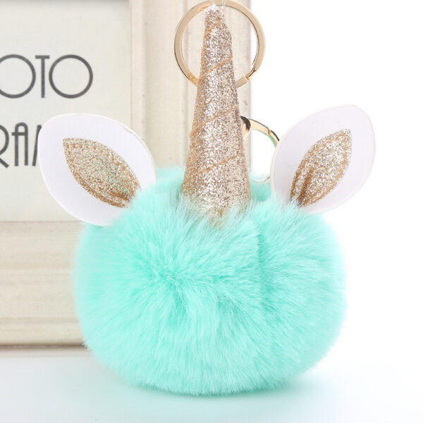 shine, porte clés licorne, porte-clé pompon bleu, accessoire mode, accessoire tendance, porte clé tout doux
