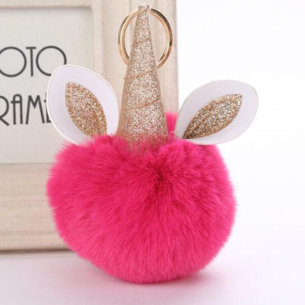 shine, porte clés licorne, porte-clé pompon rose, accessoire mode, accessoire tendance, porte clé tout doux