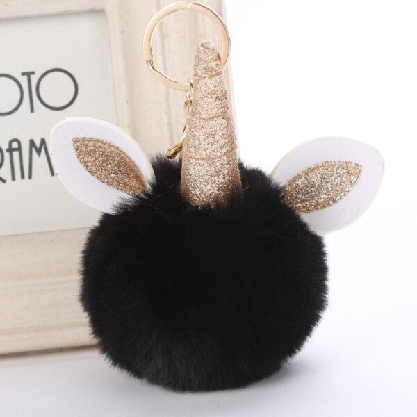 shine, porte clés licorne, porte-clé pompon noir, accessoire mode, accessoire tendance, porte clé tout doux