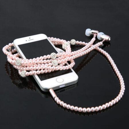 shine, écouteurs collier perles roses et strass, original, design, fashion