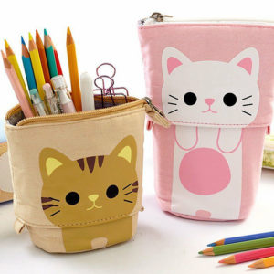 shine, trousse chat kawaii scolaire, trousse d'école pour crayons