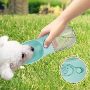 Shine, distributeur d'eau portable, bouteille silicone rose 550ml, abreuvoir plastique pour chien, gourde de voyage