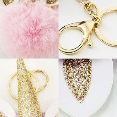 shine boutique, porte-clés pompon licorne, porte-clé pompon fourrure, porte-clés boule de poil
