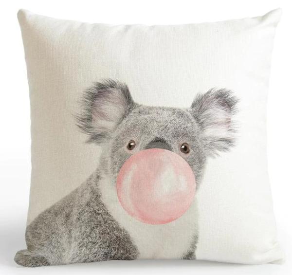 shine, coussin koala Bulle de gum rose ou bleu