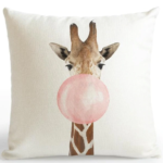 shine, coussin girafe Bulle de gum rose ou bleu