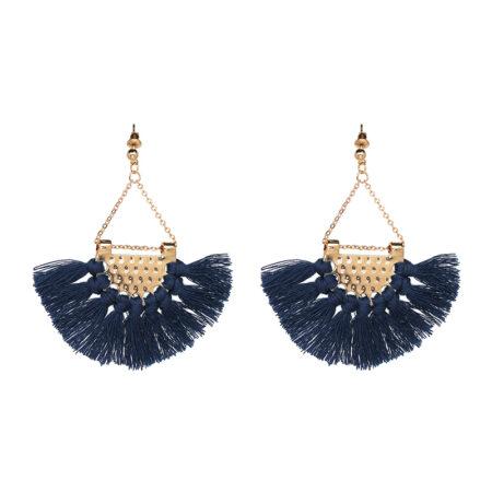 shine boutique, Boucles d'Oreilles Dorées Frange Bleue - Bahia