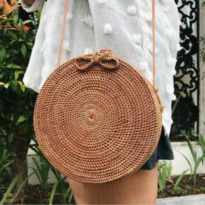 shine, sac à main rotin naura de forme ronde et de style bohème