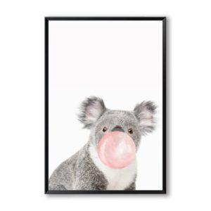 shine boutique, poster bulle de gum, poster girafe Bulle de gum rose, posters animaux de la savane, poster koale, poster girafe, poster zèbre, poster kangourou