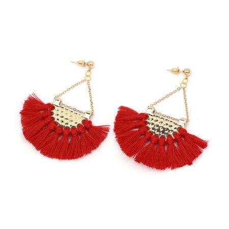 shine boutique, Boucles d'Oreilles Dorées Frange rouge - Bahia