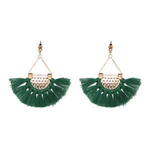 shine boutique, Boucles d'Oreilles Dorées Frange verte - Bahia
