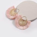 shine boutique, Boucles d'oreilles coral, été, estivale, laiton doré, plaqué or, bohème chic, frange coloré, pendantes