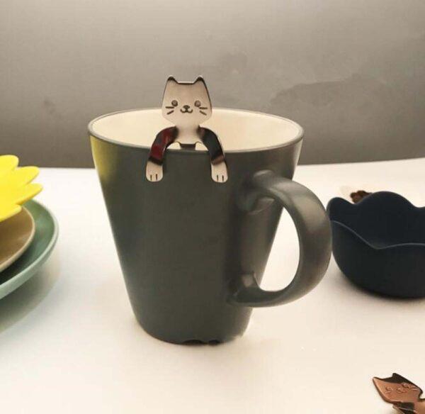 shineboutique, cuillère à café féline, cuillère chat, cuillère à dessert, pack de 4 cuillères