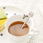 shine boutique, cuillère à café féline, cuillère chat, cuillère à dessert, pack de 4 cuillères