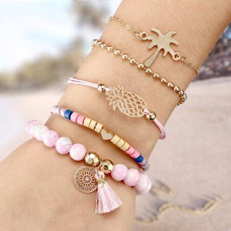 shineboutique, bracelet multi-rangs pineapple, ensemble de bracelet rose, bracelet bohème chic
