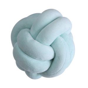coussin boule, coussin pelote de laine, coussin knot, coussin pelote vert, coussin noeud velours