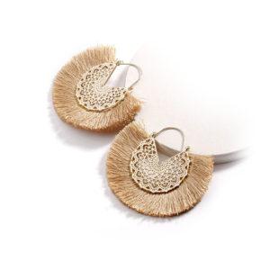 SHINEBOUTIQUE Boucle d'oreille coral beige, créoles, vintage, bohème, pompon, boho, bijoux ethnic chic, fantaisie, mode, été, indiennes