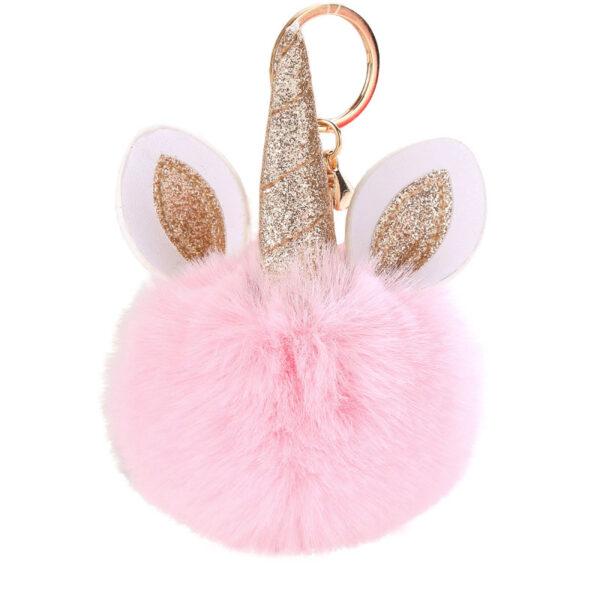 shineboutique porte clés licorne, porte-clé pompon rose, accessoire mode, accessoire tendance, porte clé tout doux, porte clé brillant