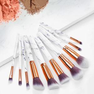 accessoire beauté, accessoire maquillage, pinceau design, lot de pinceaux marbre