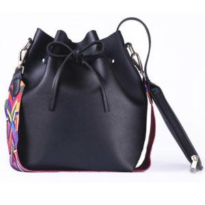 shine, sac besace Amitola en simili cuir noir et avec une lanière colorée et l'autre en simili cuir et son porte-monnaie assorti, sac à main seau
