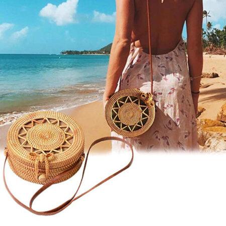 shine, sac rotin matahari de forme ronde et de style bohème