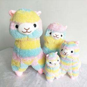 shineboutique, peluche lama arc en ciel, peluche douce multicolore pour enfant, peluche originale
