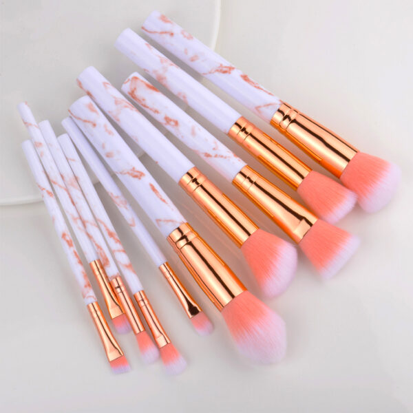 set de 10 pinceaux maquillage marbre – rose