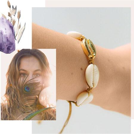 bracelet coquillages blanc et or cordon marron