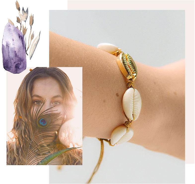 bracelet coquillages cauri bohème