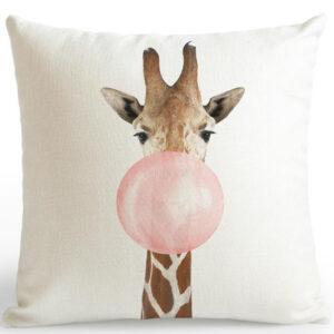 shineboutique, coussin girafe bulle de gum