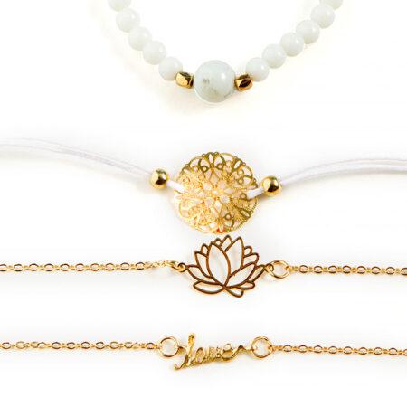 shineboutique, bracelet multi-rangs dalila, ensemble de bracelet blanc, bracelet bohème chic