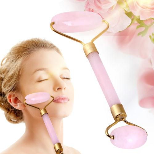 shine boutique, Rouleau de massage facial en quartz, rouleau de massage en jade, rouleau quartz rose, rouleau jade rose, rouleau anti-cernes, rouleau massage anti-rides, accessoire beauté, soin de la peau