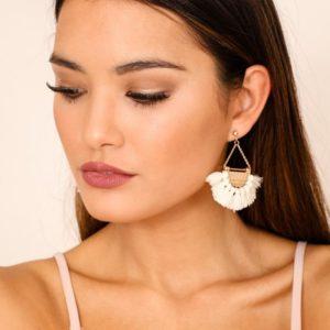 shine boutique, Boucles d'oreilles bahia, été, estivale, laiton doré, plaqué or, bohème chic, frange coloré, pendantes