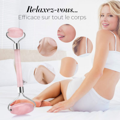 shine boutique, Rouleau de massage facial en quartz, rouleau de massage en jade, rouleau quartz rose, rouleau jade rose, rouleau anti-cernes, rouleau massage anti-rides, accessoire beauté, soin de la peau