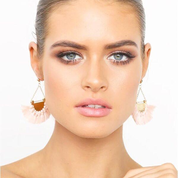 shineboutique, Boucles d'oreilles bahia, été, estivale, laiton doré, plaqué or, bohème chic, frange coloré, pendantes