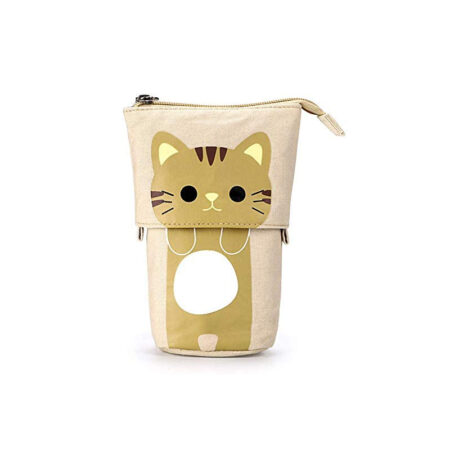 trousse rétractable chat beige