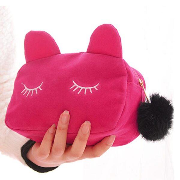 Shineboutique, pochette chat, trousse maquillage, trousse de produit de beauté, trousse de toilette