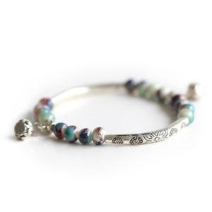 bracelet perles argent tibet, shine boutique
