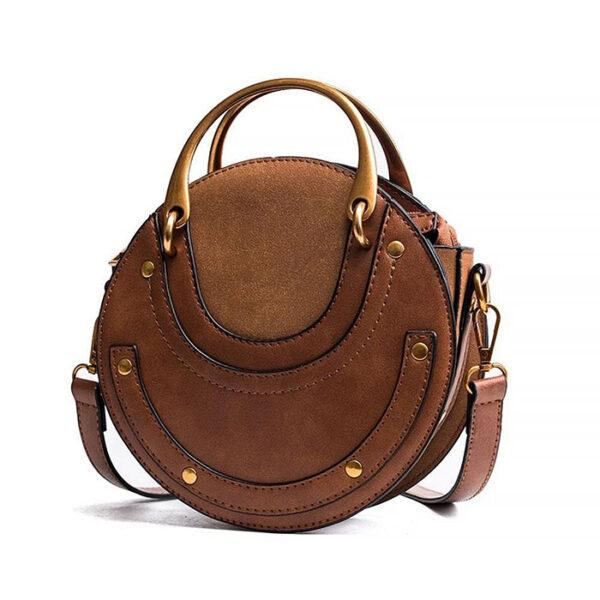 sac rond en bandoulière simili cuir, cuir vegan et clouté