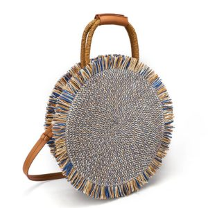 sac paille rond bohème tonga, shine boutique