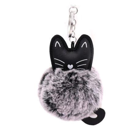 shineboutique, porte-clés pompon chat gris