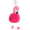 SHINEBOUTIQUE porte clés flamant rose, porte-clé pompon rose, accessoire mode, accessoire tendance, porte clé tout doux, porte clé cuir