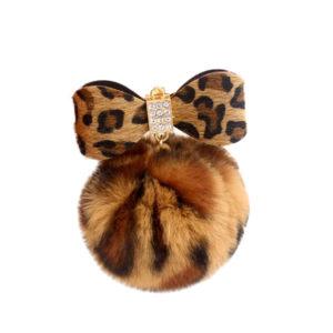 porte-clé pompon noeud léopard, shineboutique
