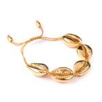 SHINE BOUTIQUE bracellet cauri doré, bracelet été, bracelet plage, bracelet cuir ajustable, bijou femme, bracelet cordon cuir
