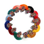 SHINE BOUTIQUE Boucle d'oreille zulu vintage, bohème, pompon, boho, bijoux ethnic chic, fantaisie, mode, été, amérindiennes, perles multicolores