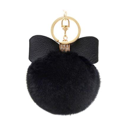 porte-clé pompon nœud noir, shineboutique