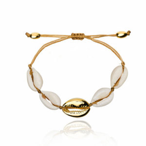bracelet coquillage blanc et or cordon marron