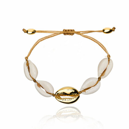 bracelet coquillage blanc et or cordon marron
