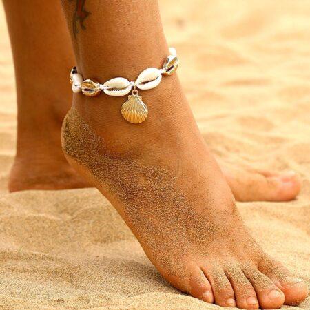 shineboutique, bracelet de cheville coquillage ariela, chevillère cauri et coquillages